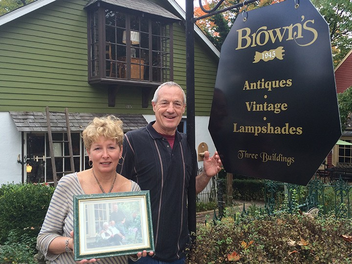 Kathy and David Brown in front of their store on Fifth Street. (Photo by Mark Ambrogi)