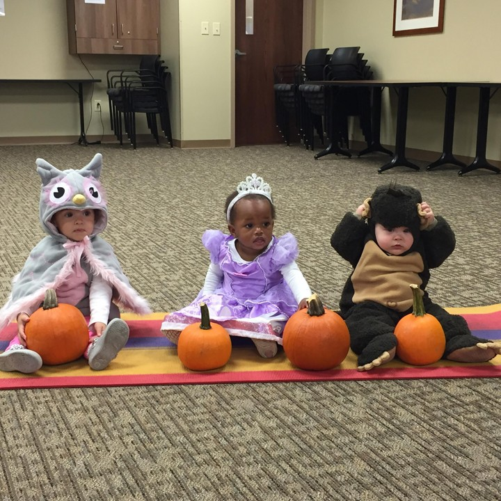 Babies Kallie Lynch, Avery Hill, Lydia Herbert dressed up in their Halloween costumes in preparation for this year's Baby Boo class. (Submitted photo)