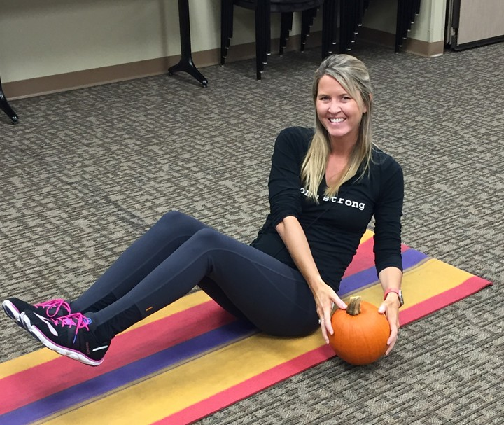 Try side lunging with pumpkins for a fun workout this season. (Submitted photo)