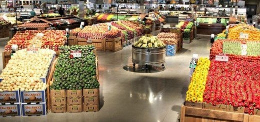 Inside the produce section of the new store.