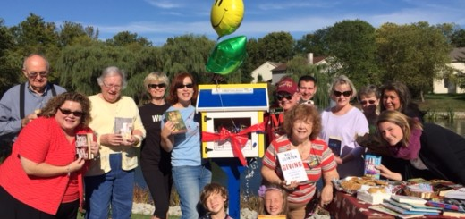 Residents of the Shadybrook neighborhood gather to celebrate their new Little Free Library. (submitted photo)