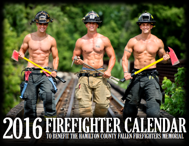 The cover of the 2016 calendar features, from left, Tim Griffin of Carmel Fire Dept., Joe Scheumann of Noblesville Fire Dept. and Jared Shaughnessy of Fishers Fire Dept. (Submitted photo)