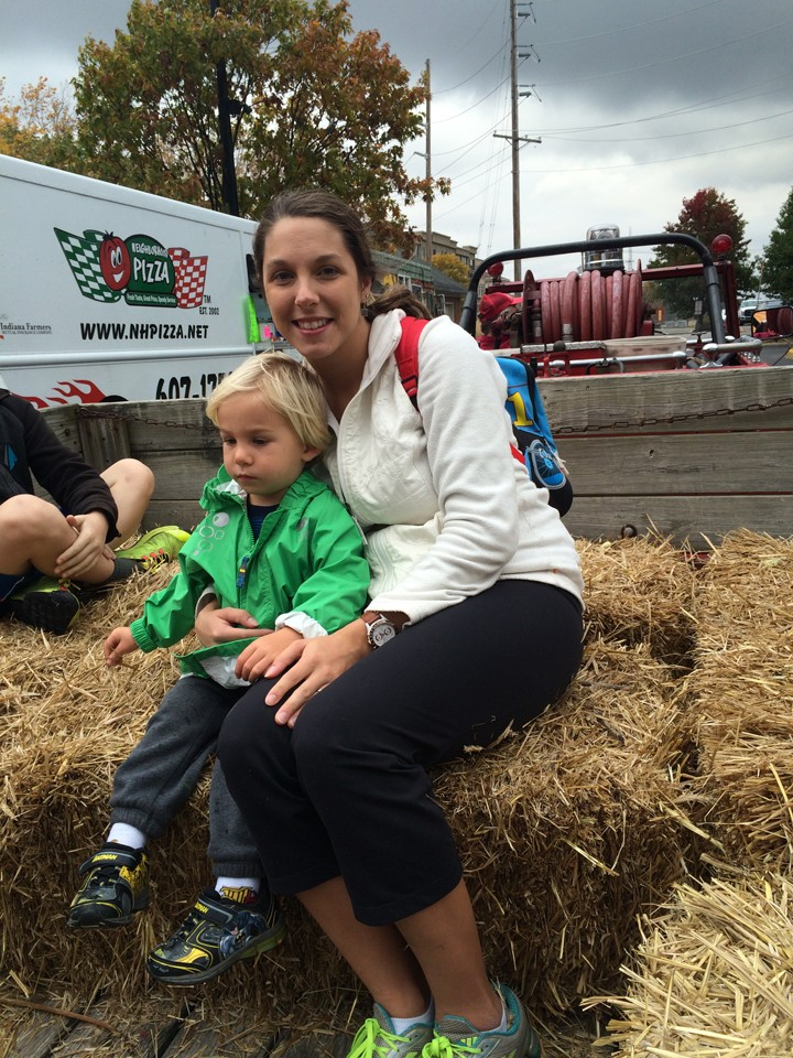 Melinda and Aiden Pritchard of Carmel go for a hayride. (Photo by Kayla Nakeeb)