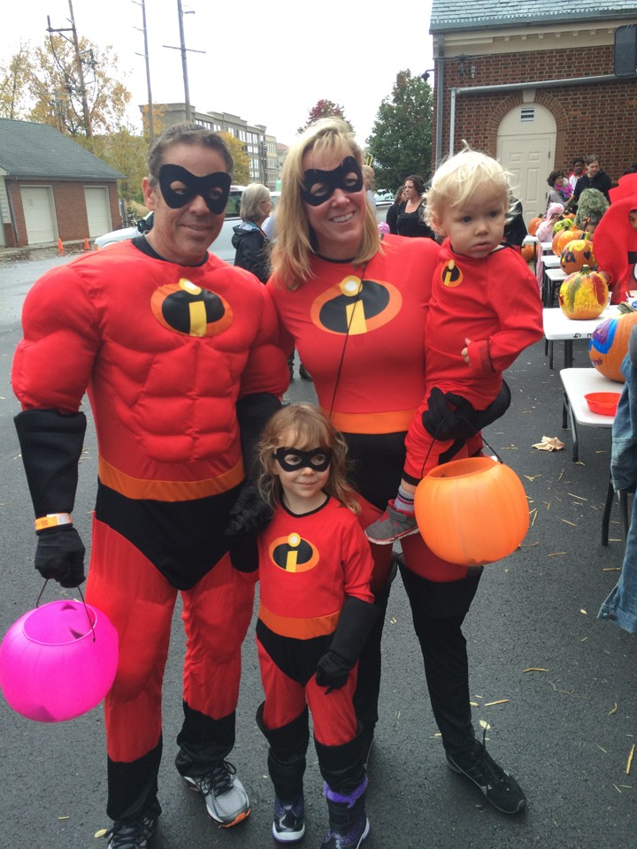John, Laura, Stella and Jude McNab of Carmel show off their Incredibles-inspired costumes. (Photo by Kayla Nakeeb)