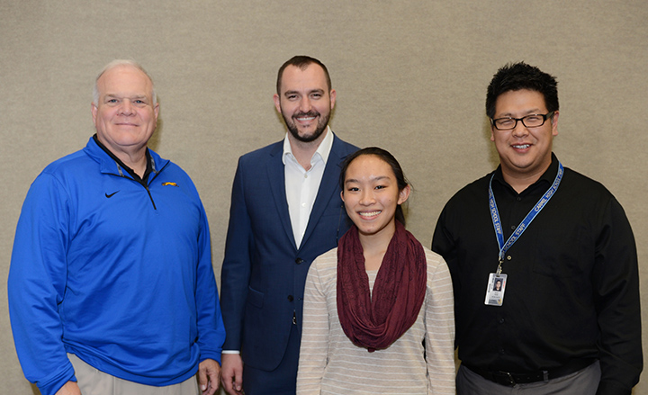 From left, CHS Principal John Williams, Jason Riley of Market District, student Sarah Tinaphong and CHS orchestra teacher Soo Han at the Teacher of the Month luncheon. (Photo by Theresa Skutt)