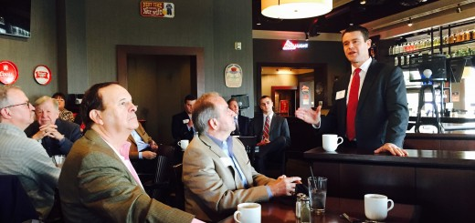 Todd Young, right, speaks to Hamilton County republicans on Nov. 11. (Photo by Adam Aasen)