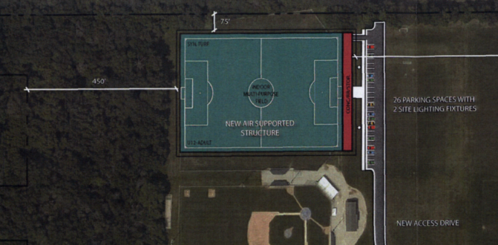 This map shows the proposed location for an air-supported structure. (submitted photo)