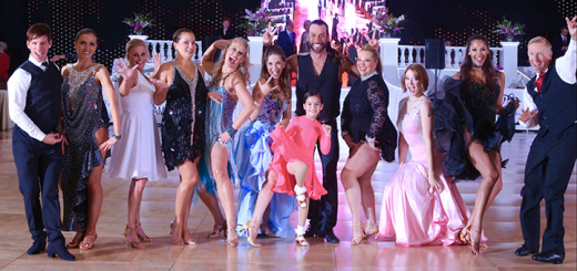 From left, instructor Tyler Bishop, Nataliya Avila, Priscilla Turner, Johnica Bibeau, Julie Reagan, Kim Chastain, Gabriella Avila, instructor Darren Lee Cupp, Jennifer Quick, Rachel Kerkes, instructor Rebekah Dottin and David Shenberger at the Grand National DanceSport Championships in Miami. (submitted photo)