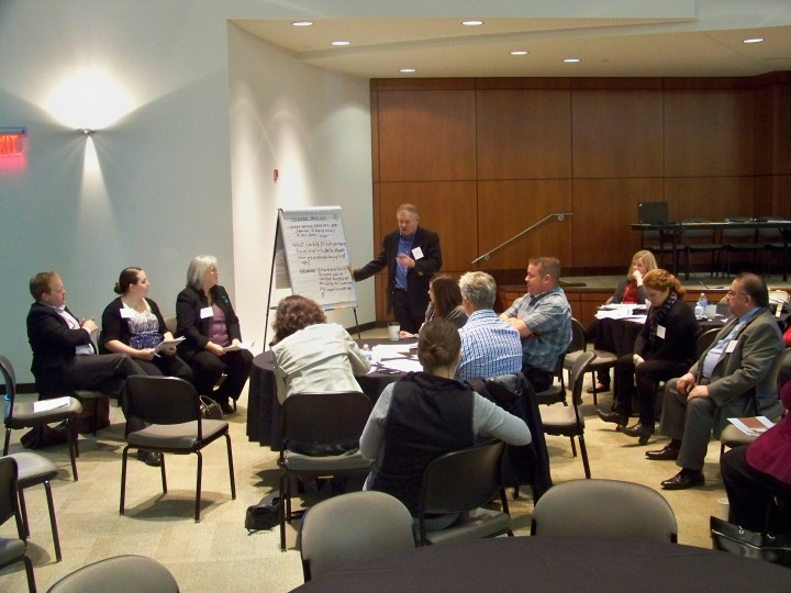 """Doug May, CICOA director of planning and quality assurance, leads a breakout session on """"Boomers and Senior Housing."""" (photo by Sam Elliott)"""