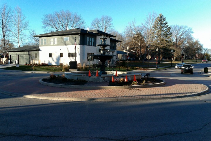 The town is trying to recoup expenses to fix the roundabout at 4th Avenue and West Main Street. (Photo by Ann Marie Shambaugh)