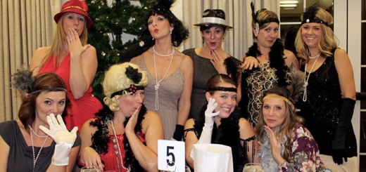 Flapper girls Angela Vance of Fishers, Nicole Wawok of Geist, Tricia Griunta of Geist, Elizabeth Shipe of Fishers, Tricia McCormick of Geist, Kelly Thompson of Geist, Chris Nevogt of Geist, Amanda Uskert of Fishers and Brooke Donley of Fishers said they had a wonderful evening of murder, mayhem and moonshine. The guests enjoyed a tour of the mansion and thought the dinner prepared by Ritz Charles was simply divine.
