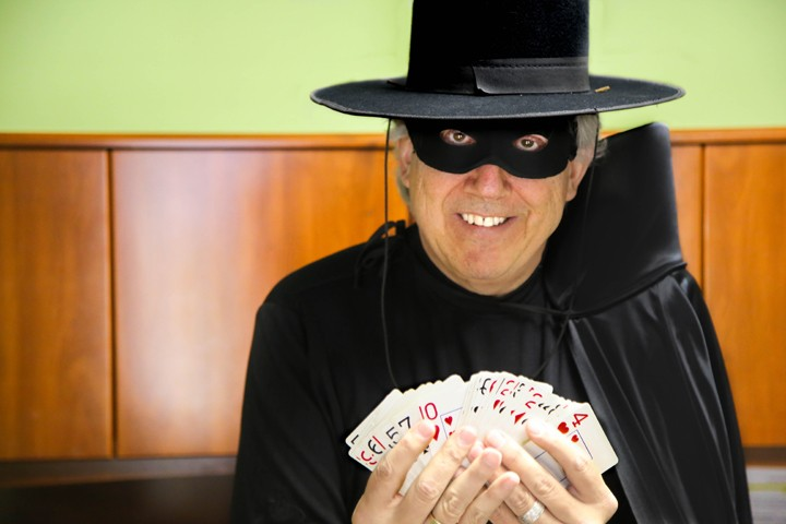 Jerry Zehr, pastor at Carmel Christian Church, performs a card trick as the Zehroo. (Photo by Feel Good Now)