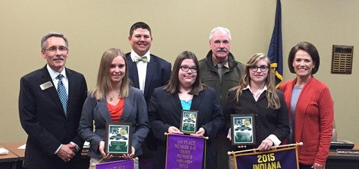 From left, Supt. Dr. Allen Bourff with HSE Future Farmers of America Skill-a-Thon state champions Kassidy Fletcher, Brant Boram, Sarah Burk, Thomas Younts, Laura Allaben and HSE Board Vice President Karen Harmer. (Photo by James Feichtner)