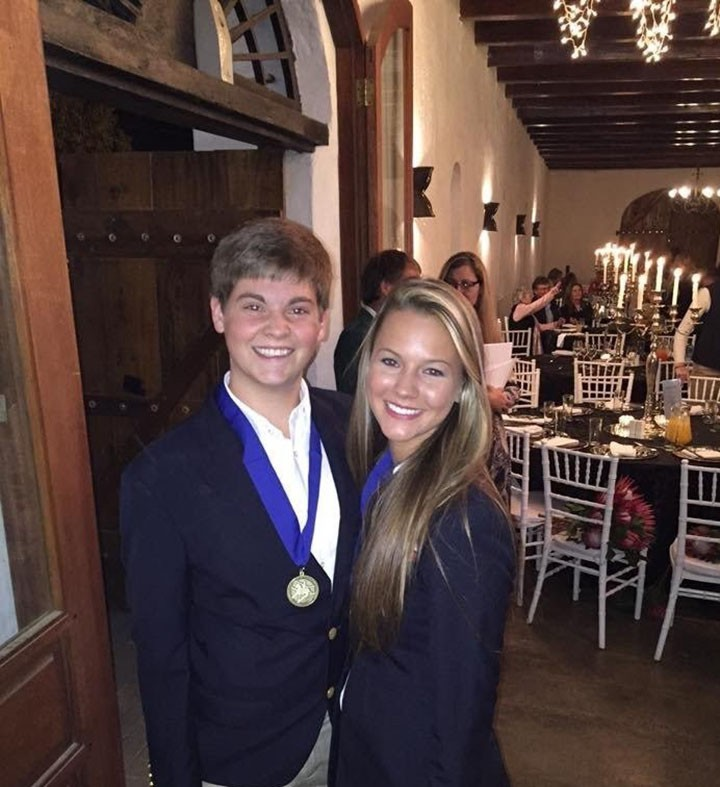 Matt Huke, left, and Faith Robbins recently traveled to South Africa to compete in the United States Equestrian Federation's Young Rider Team. Their team earned gold medals. (Submitted photo)