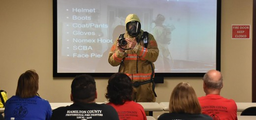 Fishers Fire Dept. Capt. Scott Zelhart explains the science of flashover and how firefighters stay safe in burning buildings. (Submitted photo by Chris Allen)