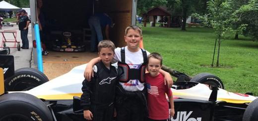Isaac, Eli and Ezra Fox of Whitestown enjoy go-karts. (Submitted photo)