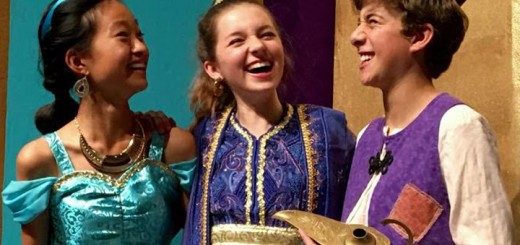 From left, Jasmine, played by Chendi Liu, Genie, played by Elle Nichol, and Aladdin, played by Ethan Gold. (Submitted photo)