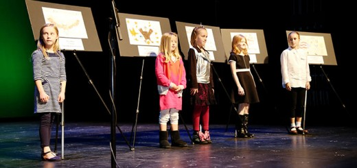 """Thank You For Our Freedom"" poster contest winners, from left, Olivia Miller, Rachel Comer, Ivy Holmes, Maddie Hayes and Amelia McLaren take the stage."