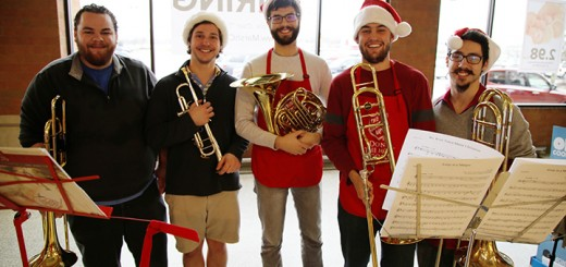 From left, Dan Smith, Glen Dash, Tim Vazquez, George Todd and Corey Dash reunite each year to perform live Christmas music at Marsh.