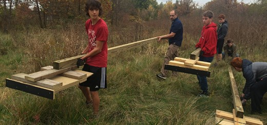 Grant Lisby, left, built several bat boxes to install in Carmel parks. (Submitted photo)