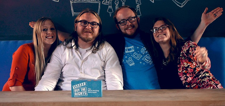 From left, Riley Day, Tommy Day, Chad Yadon and Michelle Yadon are using Kickstarter to raise $15,000 to produce their game, Buy the Rights. (Submitted photo)