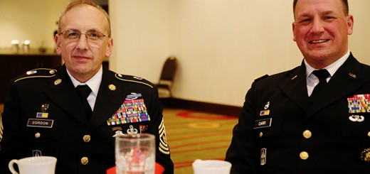 From left, Sgt. Maj. James Gordon and Maj. Gen. Courtney Carr attend the ceremony.