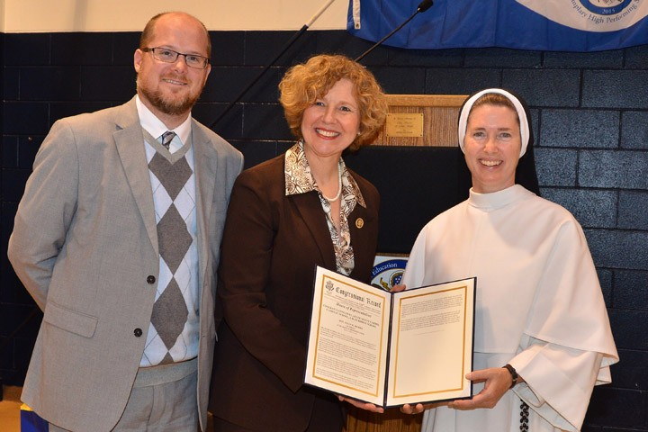 OLMC vice-principal Tim Fletcher, Rep. Susan Brooks and OLMC Principal Sister Mary Emily Knapp. (submitted photo)