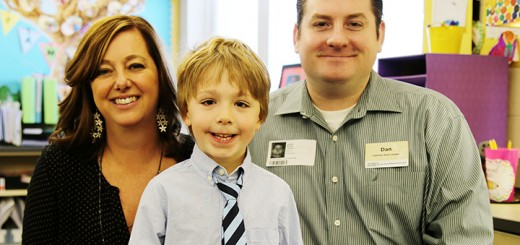 From left, teacher Kathryn Barker, student Owen Fluhler and Market District's Dan Mixan. (Photo by Feel Good Now)