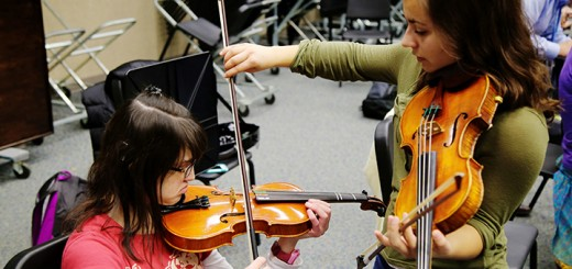 Abby Love, left, works with Lilly St. Angelo during a United Sound session. (Photo by Feel Good Now)