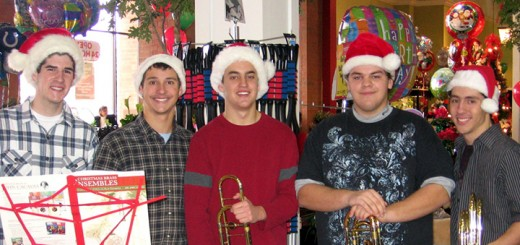 CHS grads and friends reunite each year to play Christmas music in Carmel. In 2010, performers included, from left, Dan Alred, Glen Dash, George Todd, Daniel Smith and Corey Dash. (submitted photo)
