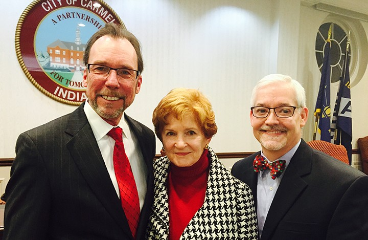 Outgoing councilors Rick Sharp, Luci Snyder and Eric Seidensticker at the final meeting of 2015. (Photo by Adam Aasen)