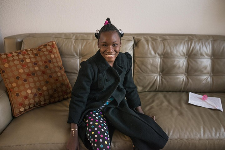 Raphaela, a young girl from Haiti, traveled to the U.S. with the help of Deb and Scott Rigney, of Carmel, to have surgery to correct a club foot. (Submitted photo)