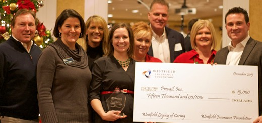 From left, David Shepherd, CEO at Shepherd Insurance; Susan Ferguson, executive director at Prevail; Michelle Corrao, assistant director at Prevail; Emily McDermott, market underwriter at Westfield Insurance; Michelle Moen, manager, human resources at Prevail; Jeff Kweder, president, Shepherd Insurance; Lisa Heldman, benefits advocate at Shepherd Insurance; and Quinn Shepherd, managing partner at Shepherd Insurance. (Submitted photo)