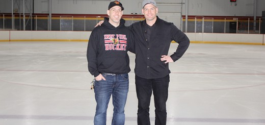 Brothers Chad and Sean Hallet on the ice at their newly renovated Fuel Tank ice arena. (Photo by James Feichtner)