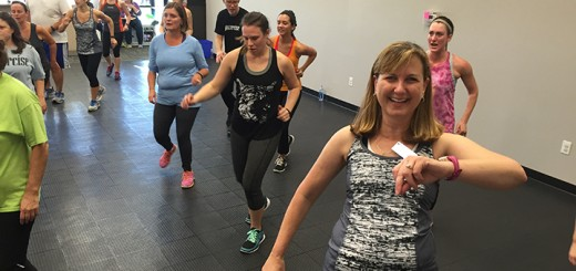 Susan Dobb, front right, participates in one of her jazzercise classes at her new franchise, Jazzercise, Inc. in Carmel. (Photo by Anna Skinner)