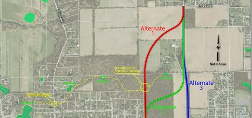 Three possible routes have been identified for a future north-south road in west Zionsville. (Submitted photo)