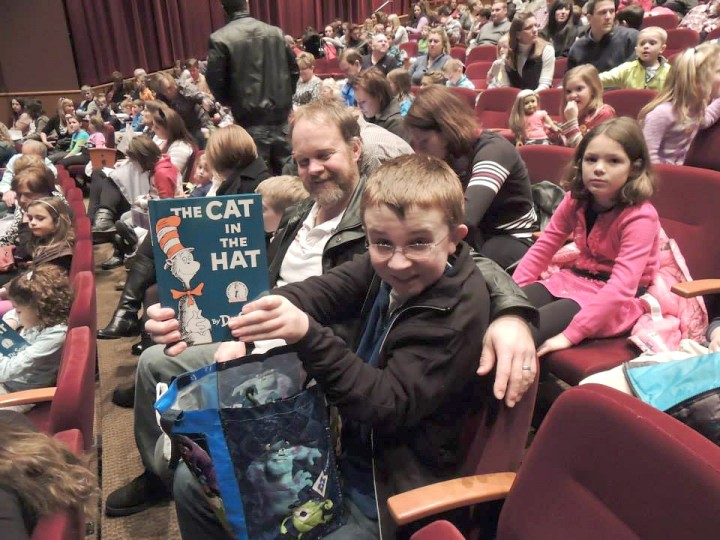 """Nick Schweigel with his father, Terry Schweigel, at last year's performance of """"The Cat in the Hat."""" (Submitted photo)"""