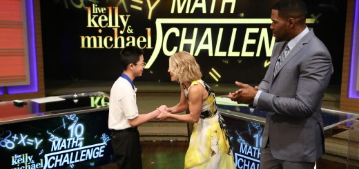 """Kelly Ripa and Michael Strahan talk with 2015 MATHCOUNTS National Champion Kevin Liu during the production of """"LIVE with Kelly and Michael"""" in New York on Monday, May 11, 2015. Photo: David M. Russell/Disney/ABC Home Entertainment and Television Distribution ©2015 Disney ABC. All Rights Reserved."""