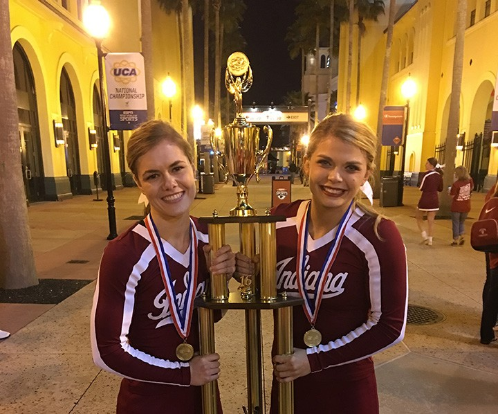 Kaylin Lapel, left, and Kirby Lynch are CHS grads and members of the IU Crimson Cheerleading team that recently won a national title. (submitted photo)