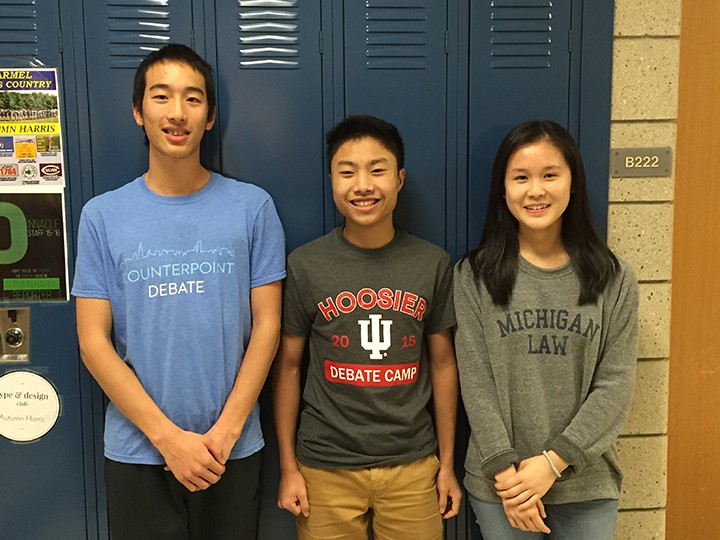 From left, Michael Wang, Darren Chang and Katie Long are the first team from Carmel High School to advance to the Round of 64 in the IPPF competition. (Submitted photo)