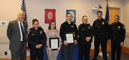 From left, Mayor Andy Cook, Officer Noreen Henriquez, Criminalist Alyssa Kautzman, Community Service Officer Taylor McCorkle, Officer Tyler Dougherty, Officer Anuar Velazquez and Chief Joel Rush celebrate the three new officers.