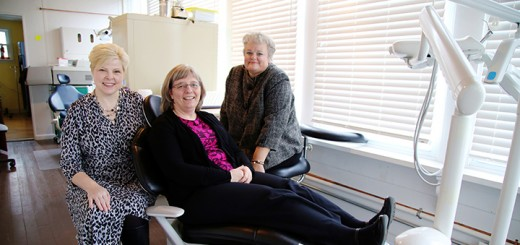 From left, Executive Director Heather Brownell, Nurse Practitioner Anne Willet and Dr. Barbara Haehner show off the dental clinic for uninsured patients to open in April. (Photos by Feel Good Now)