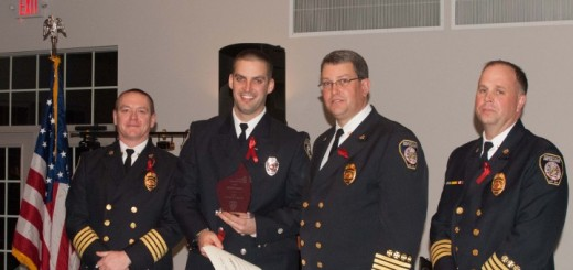 From left Deputy Chief Jeff Beam, Justin Pataky, Fire Chief James VanGorder and Deputy Chief Brian Miller at a previous banquet. (File photo)