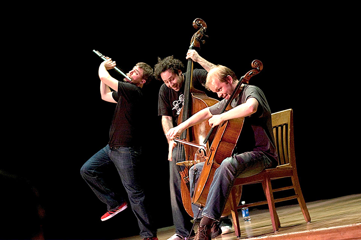 From left, Greg Pattillo, on the flute; Peter Seymour, on the double bass; and Eric Stephenson, on the cello. (Submitted photo)
