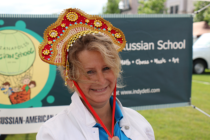 Natalia Rekhter, executive director at the Russian School, earlier this year at the Carmel Farmers Market's heritage day. (File photo)