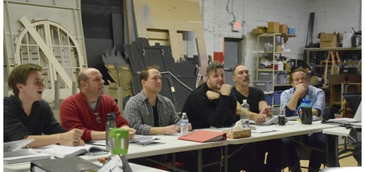 The cast during a recent rehearsal. From left, John Collins, John Vessel, Don Farrell, Craig Underwood, Rory Shivers-Brimm, and Paul Nicely. (Submitted photo)