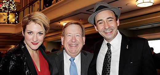 "Miz Elizabeth, lead singer of The Hot Sardines, pauses with Mayor Jim Brainard and Evan 'Bibs"" Palazzo Bandleader of The Hot Sar- dines after the NYE Extravaganza concert at the Palladium to ring in 2016."