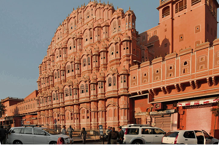 Façade of Jaipur's Palace of the Winds. (Photo by Don Knebel)