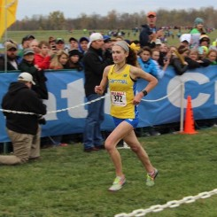 Sarah Leinheiser runs to the finish line at the 2015 IHSAA state meet.