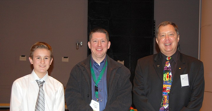 From left, CMS student Oscar Cronin, CMS band director Chris Drabyn and Junior All-State Jazz Ensemble director Jim Decaro. (Submitted photo)